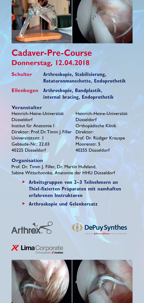 DESM 2018 Vorprogramm Donnerstag Cadaver-Pre-Course